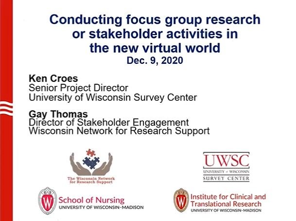 Picture from Conducting focus group research or stakeholder activities in the new virtual world video