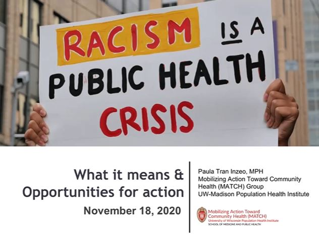 Picture from Racism is a public health crisis: What it means and opportunities for action video