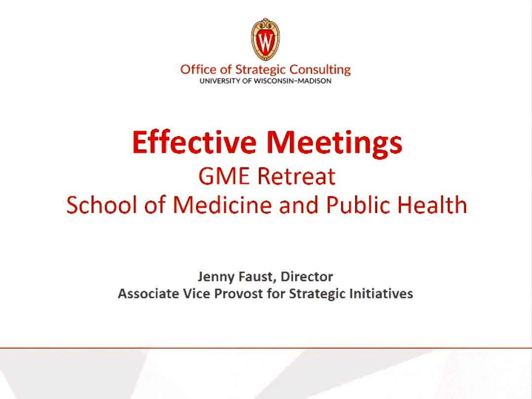 Picture from GME Retreat 2020 - Running Effective Meetings video