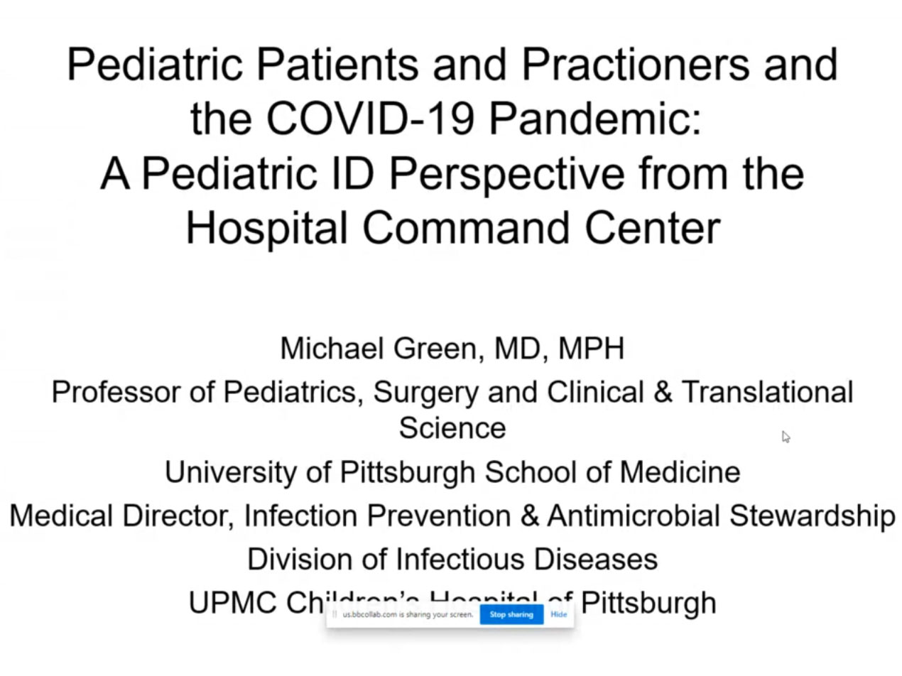Picture from Pediatric Patients and Practioners and the COVID-19 Pandemic:  A Pediatric ID Perspective from the Hospital Command Center video