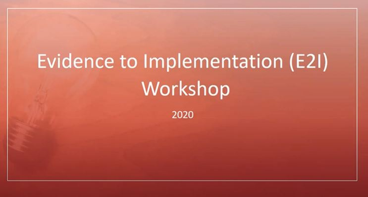 Picture from Evidence to Implementation Award Workshop 02 Nov 2020