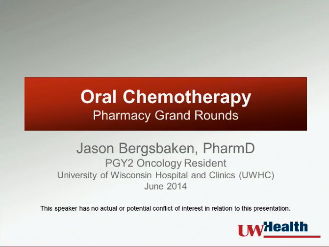 Picture from Pharmacy - Oral Anti-Cancer Therapy video