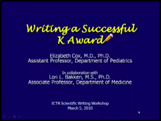 Picture from Writing a Successful K Award