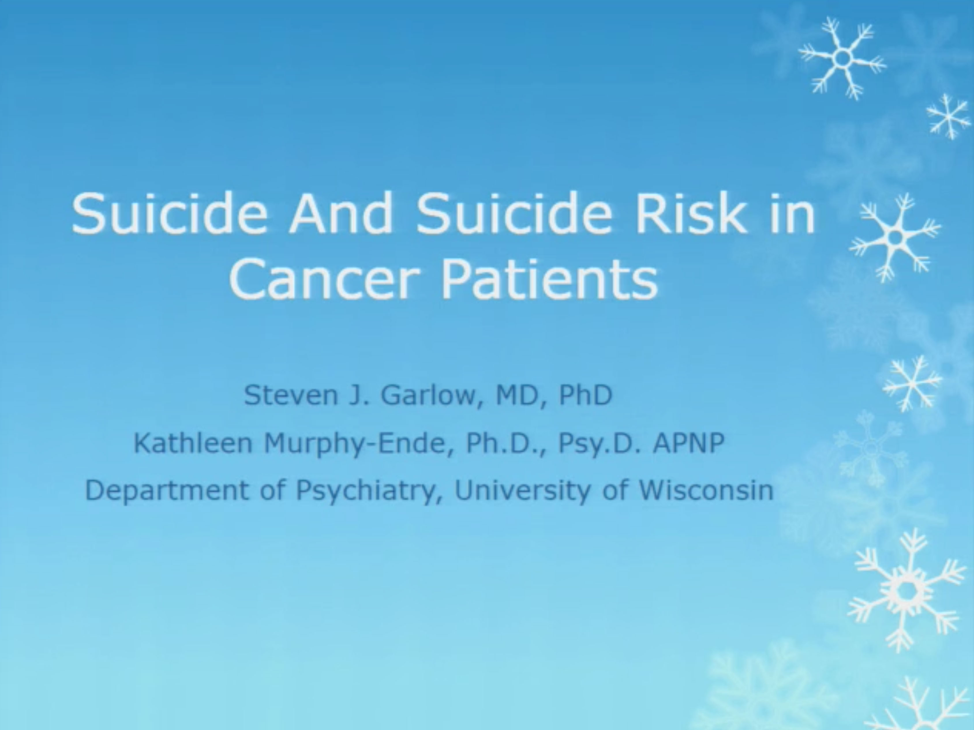 Picture from Suicide and Suicide Risk in Cancer Patients video