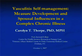 Picture from Vasculitis Self-management: Measure Development and Spousal Influences in a Complex Chronic Illness video