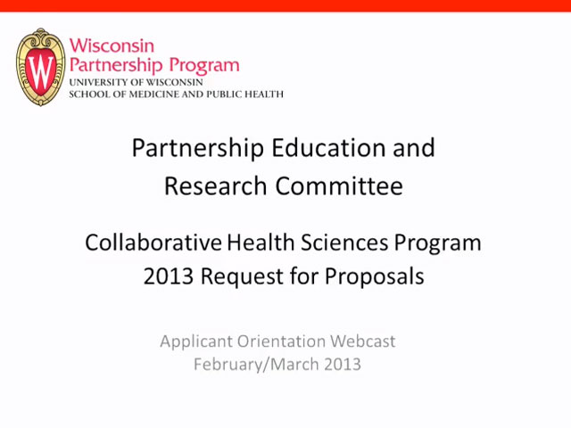 Picture from Wisconsin Partnership Program Education and Research Committee Collaborative Health Sciences Program 2013 Request for Proposals video