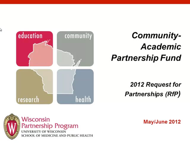 Picture from Community-Academic Partnership Fund 2012 Request for Partners video
