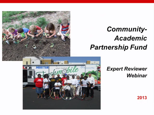 Picture from Community-Academic Partnership Fund Expert Reviewer Webinar video