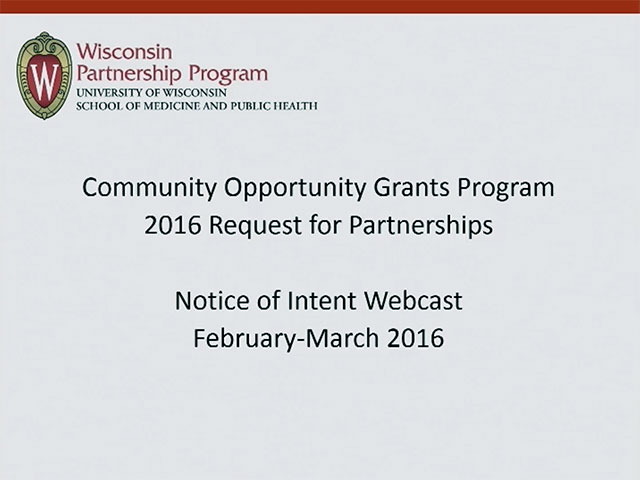 Picture from Community Opportunity Grants Program 2016 Request for Partnerships video