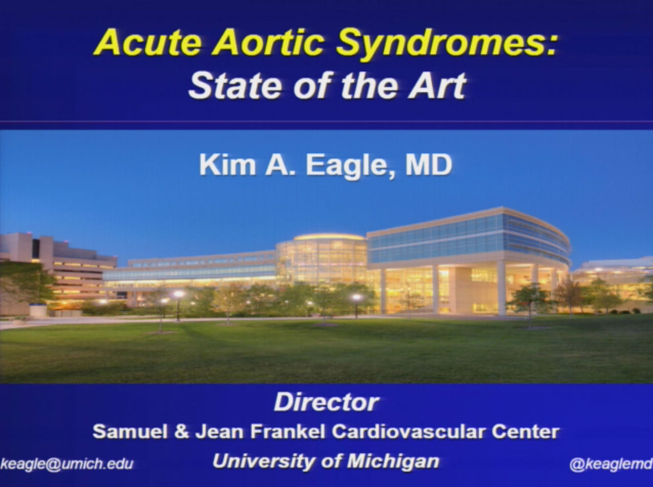Picture from Acute Aortic Syndromes: State of the Art video