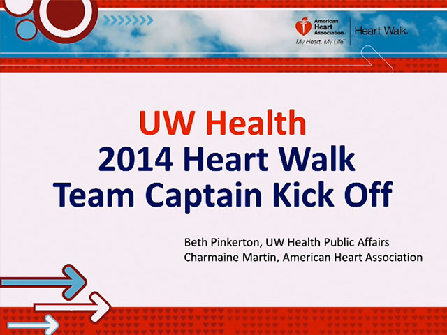 Picture from Heart Walk Team Captain Kick-Off video