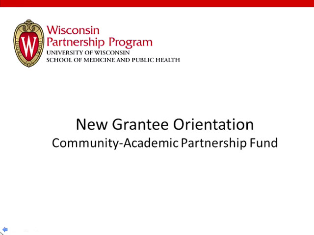 Picture from New Grantee Orientation video
