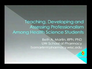 Picture from Teaching, Developing and Assessing Professionalism Among Health Science Students video