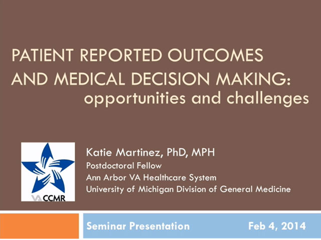 Picture from Use of Patient Reported Metrics to Improve Care and Medical Decision Making: Opportunities and Challenges video