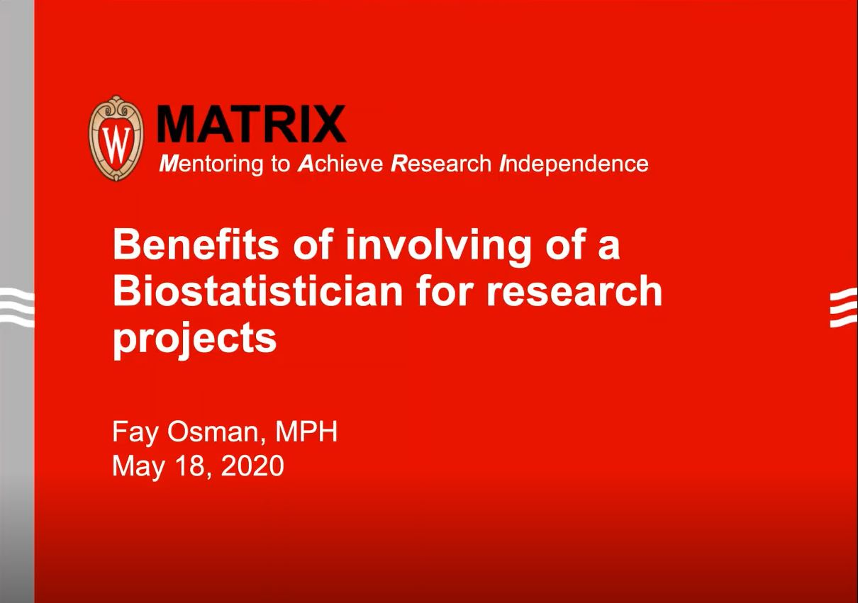 Picture from The MATRIX (Mentoring to Achieve Research Independence) Program video