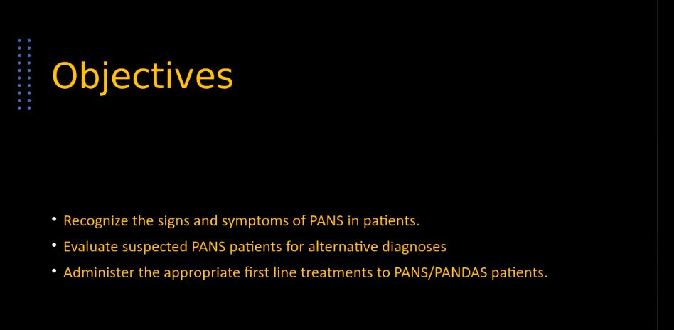 Picture from PANS, PANDAS, and Sydenham Chorea video