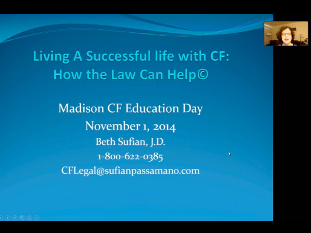 Picture from Successful Life with CF: How the Law Can Help video