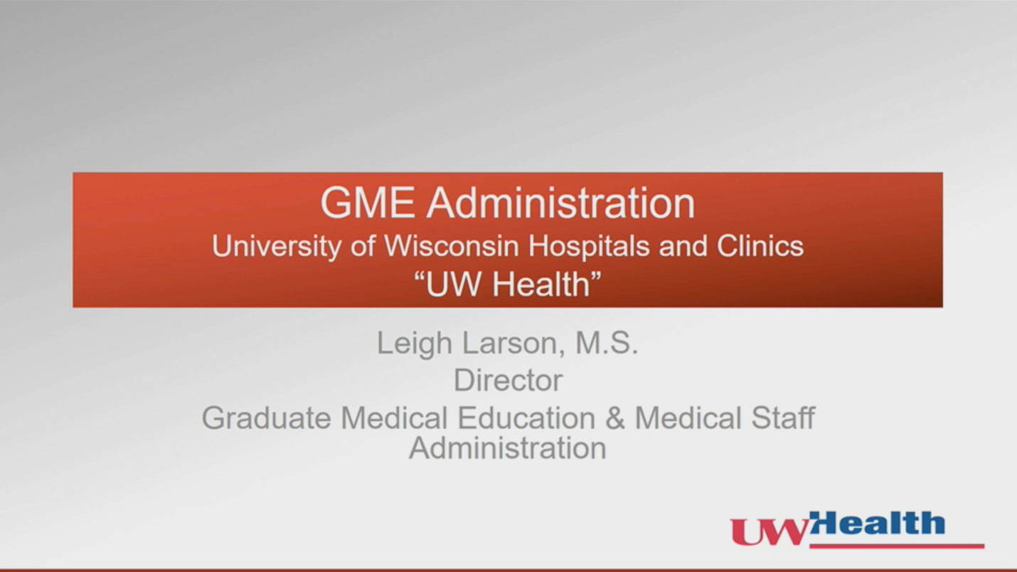 Picture from GME Orientation video