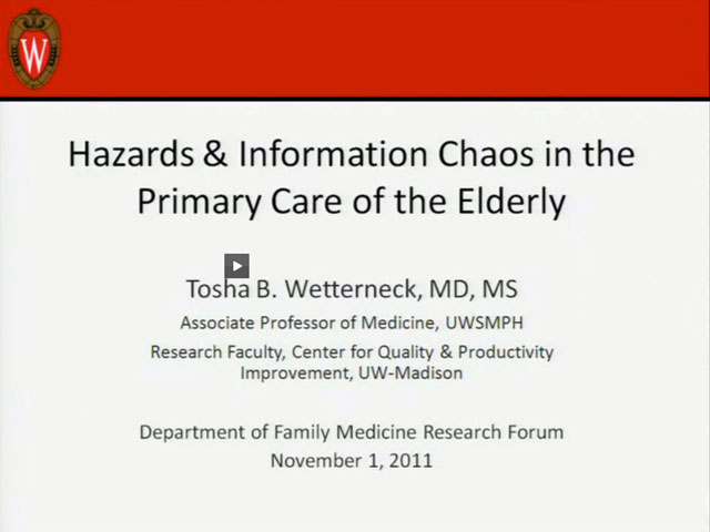 Picture from Hazards & Information Chaos in the Primary Care of the Elderly video
